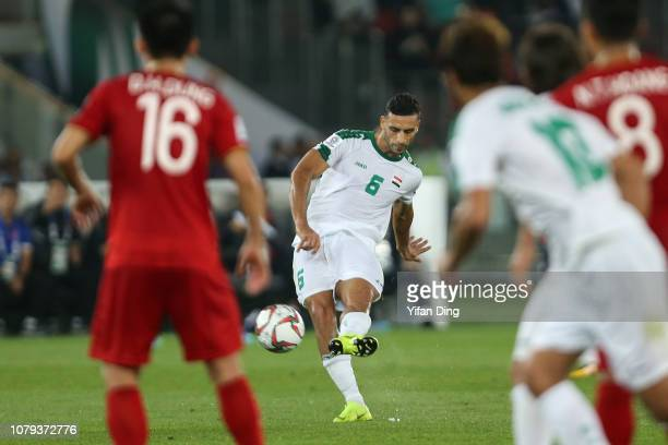 Ali Adnan Kadhim of Iraq takes a free kick and scores the winning goal for Iraq during the AFC Asian Cup Group D match between Iraq and Vietnam at...