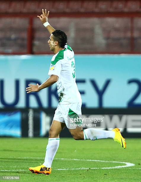 Ali Adnan of Iraq celebrates after scoring a goal against Uruguay during their SemiFinal football match at the FIFA Under 20 World Cup at Huseyin...