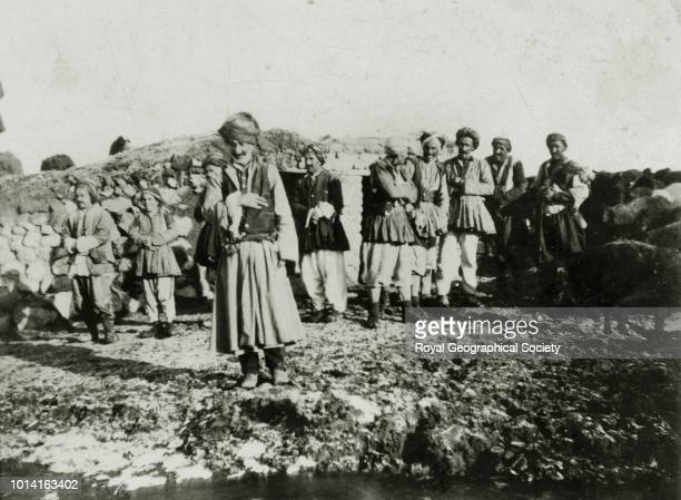 Ali Agha a chief of the Mukuri Kurds and his followers at Newshehr village Turkey 1906