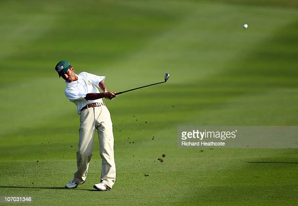 Ali Ahmed Fazel of Afghanistan in action during the final round of the Men's golf competition at Dragon Lake Golf Club during day eight of the 16th...