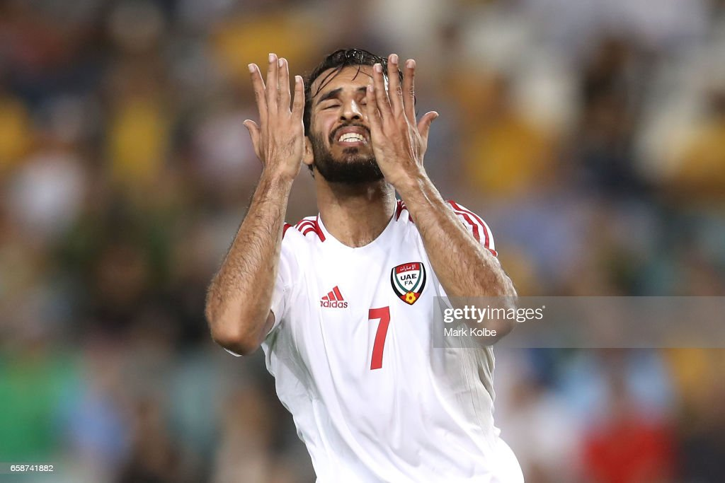 Ali Ahmed Mabkhout of the United Arab Emirates reacts after a missed chance on goal during the 2018 FIFA World Cup Qualifier match between the Australian Socceroos and United Arab Emirates at Allianz Stadium on March 28, 2017 in Sydney, Australia.
