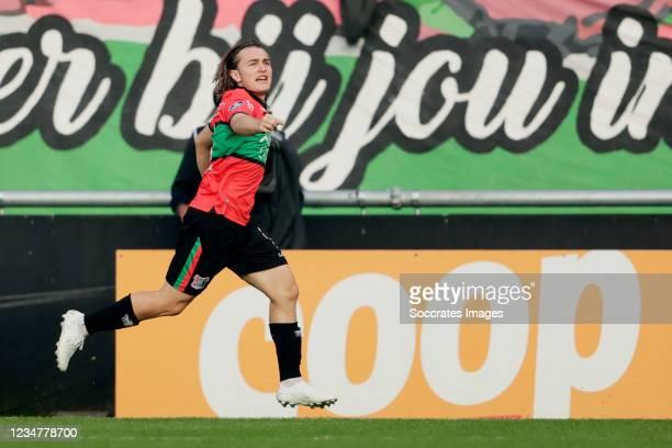 Ali Akman of NEC Nijmegen celebrates 1-0 during the Dutch Eredivisie match between NEC Nijmegen v PEC Zwolle at the Goffert Stadium on August 20,...