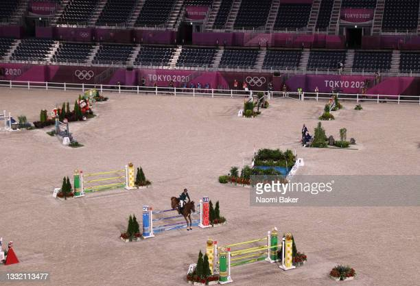 Ali Al Ahrach of Team Morocco riding Usa De Riverland competes during the Jumping Individual Qualifier on day eleven of the Tokyo 2020 Olympic Games...