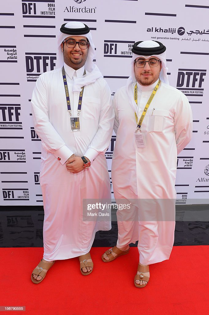 Ali Al Ansari(L) and Ahmed Al Baker of Lockdown: Red Moon Escape attends the Made In Qatar Press Conference at the Al Mirqab Hotel during the 2012 Doha Tribeca Film Festival on November 21, 2012 in Doha, Qatar.