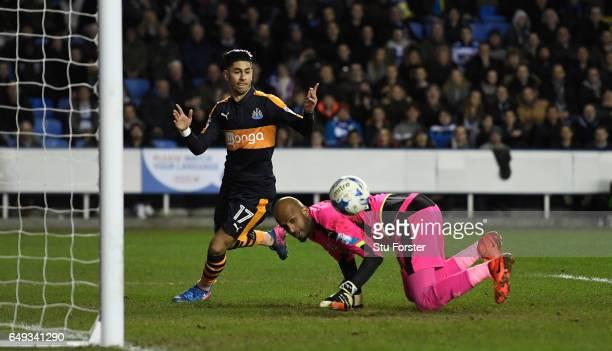 Ali Al Habsi denies Newcastle player Ayoze Perez during the Sky Bet Championship match between Reading and Newcastle United at Madejski Stadium on...
