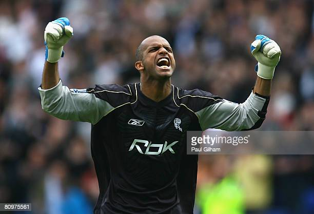 Ali Al Habsi of Bolton Wanderers celebrates after team mate El Hadji Diouf scored the opening goal during the Barclays Premier League match between...