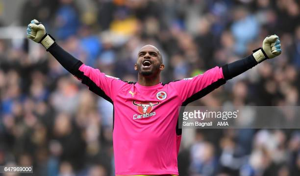 Ali Al Habsi of Reading celebrates during the Sky Bet Championship match between Reading and Wolverhampton Wanderers at Madejski Stadium on March 4...
