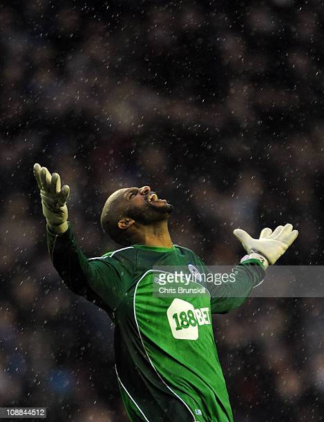 Ali Al Habsi of Wigan Athletic celebrates his side's third goal during the Barclays Premier League match between Wigan Athletic and Blackburn Rovers...