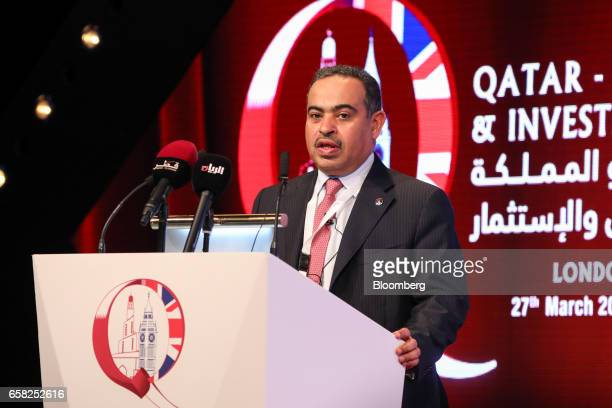 Ali Al Kuwari chief executive officer of Qatar National Bank SAQ speaks at the QatarUK Business and Investment Forum in London UK on Monday March 27...