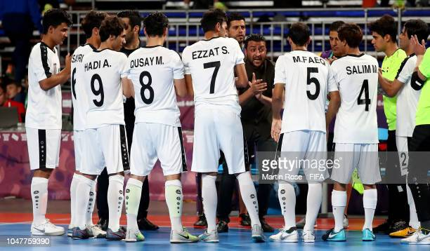 Ali Al Rubbaeey head coach of Iraq gives instructions in the Men's Group A match between Iraq and Slovakia during the Buenos Aires Youth Olympics...