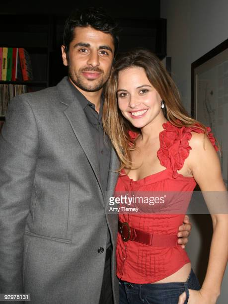 Ali Alborzi and Josie Maran attend Anna Getty's 'I'm Dreaming of a Green Christmas' Book Launch Party at Environment Furniture on November 10 2009 in...