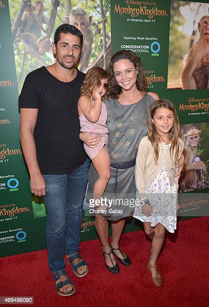Ali Alborzi Indi Joon Alborzi model Josie Maran and Rumi Joon Alborzi attend the world premiere Of Disney's 'Monkey Kingdom' at Pacific Theatres at...