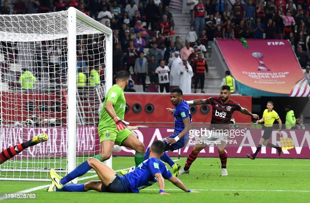 Ali Albulayhi of Al Hilal SFC scores an own goal, CR Flamengo's third goal during the FIFA Club World Cup semi-final match between CR Flamengo and Al...