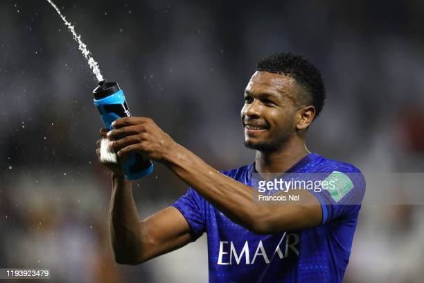 Ali Albulayhi of Al Hilal SFC squeezes his water bottle after his sides victory during the FIFA Club World Cup 2nd round match between Al Hilal and...