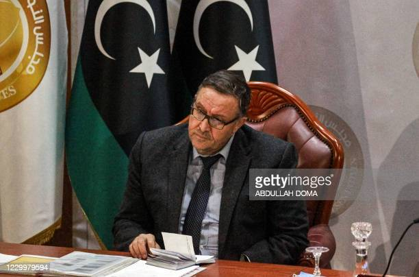 Ali al-Habri, governor of the parallel Central Bank of Libya based in the east, meets with the speaker of the Tobruk-based Libyan House of...