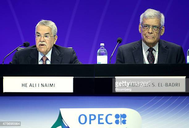 Ali alNaimi Saudi Arabia's petroleum minister left speaks as Abdalla ElBadri OPEC secretarygeneral sits and listens during the 6th OPEC International...