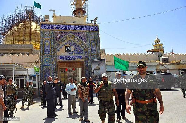 Ali alTamimi governor of Baghdad arrives with Iraqi forces and mainly Shiite Muslim volunteers at the AlAskari Shrine in the predominantlySunni...