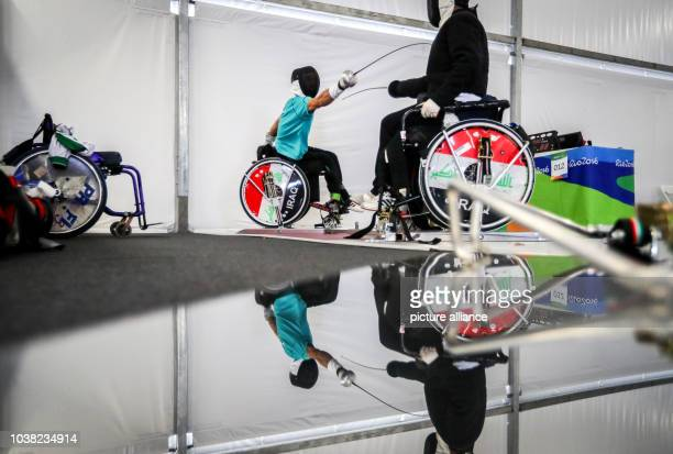 Ali Ammar of Iraq and his coach in action during a fencing training session in Rio de Janeiro Brazil 06 September 2016 The Rio 2016 Paralympic Games...