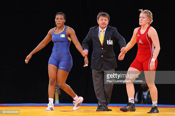 Ali Annabel Laure vs Epp Mae compete at the Women's Greco Roman Wrestling FILA Competition program Excel Arena London 11 December 2011