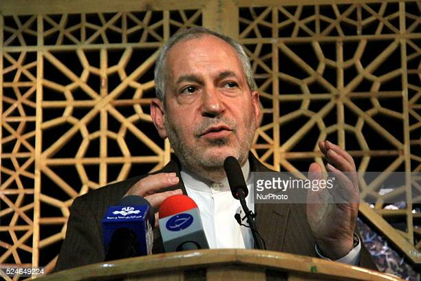 Ali Asghar Fani Minister of Education during Joint Conference of quotRahiyanenoorquot headquarters IranTehran 19 Aug 2015