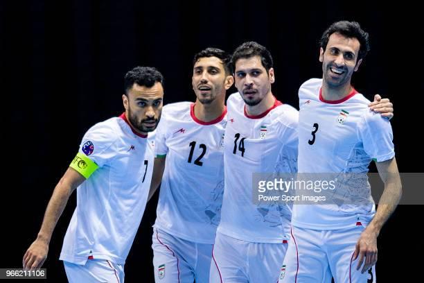 Ali Asghar Navlighe Mohammad Shajari Mahdi Javid and Ahmad Esmaeilpour celebrate during the the AFC Futsal Championship Chinese Taipei 2018 Quarter...