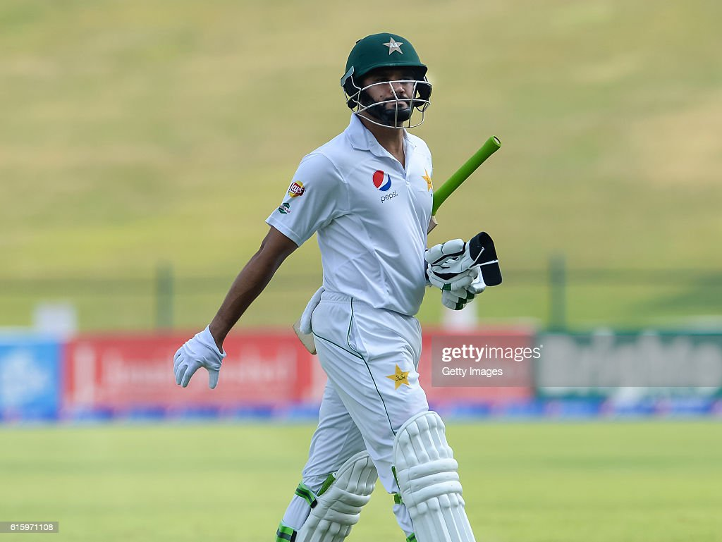 Ali Azhar leaves the ground after being bowled by Shannon Gabriel during Day One of the Second Test between Pakistan and the West Indies at the Zayed Cricket Stadium on October 21, 2016 in Abu Dhabi, United Arab Emirates.