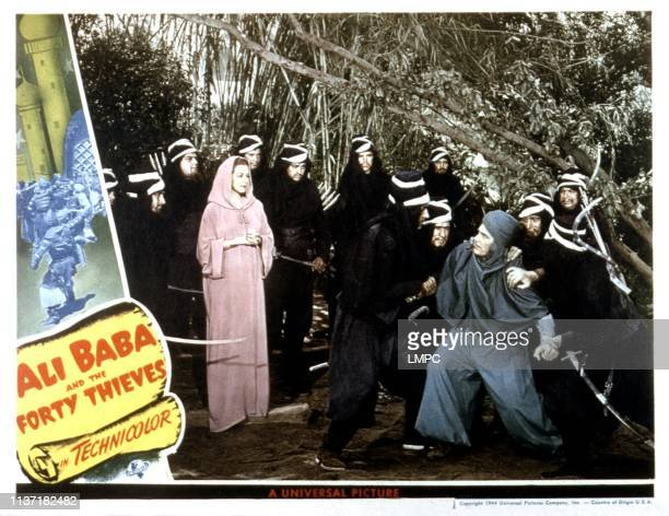 Ali Baba And The Forty Thieves lobbycard third and tenth from left Maria Montez Jon Hall 1944