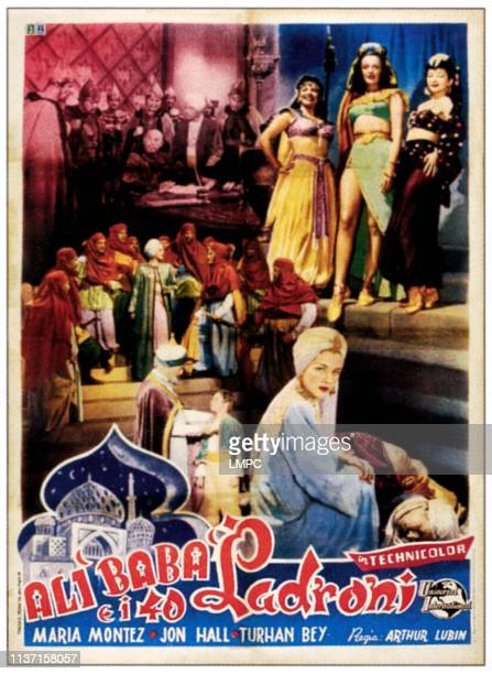 Ali Baba And The Forty Thieves poster bottom right Maria Montez on Italian poster art 1944