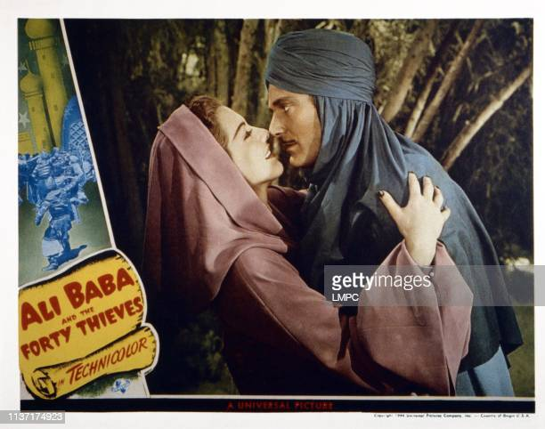 Ali Baba And The Forty Thieves US lobbycard from left Maria Montez Jon Hall 1944
