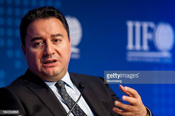 Ali Babacan deputy prime minister of Turkey speaks during the Institute Of International Finance Annual Membership Meeting in Washington DC US on...