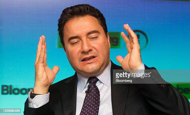 Ali Babacan Turkey's deputy prime minister gestures during a speech in London UK on Wednesday Nov 23 2011 Turkey's central bank is independent and...