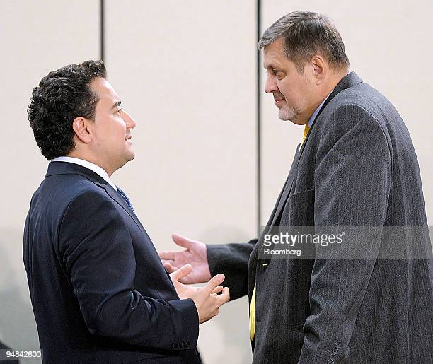 Ali Babacan Turkey's foreign minister left speaks with Jan Kubis Slovakia's foreign minister during the NATO Georgia council at NATO headquarters in...