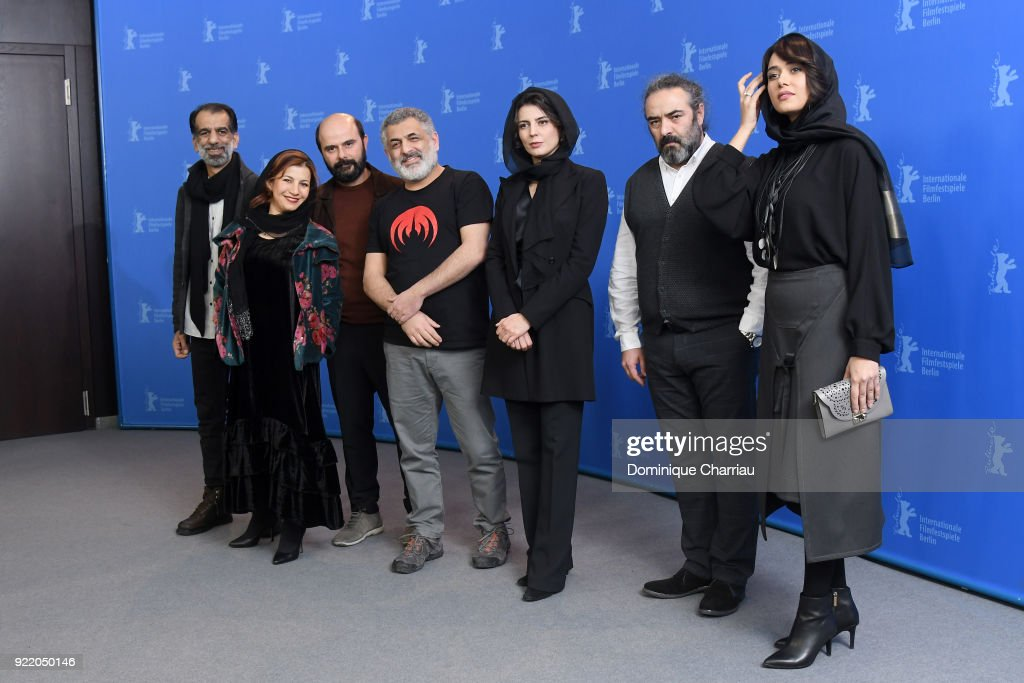 Ali Bagheri, Leili Rashidi, Ali Mosaffa, Mani Haghighi, Leila Hatami, Hasan Majuni and Parinaz Izadyar pose at the 'Pig' (Khook) photo call during the 68th Berlinale International Film Festival Berlin at Grand Hyatt Hotel on February 21, 2018 in Berlin, Germany.