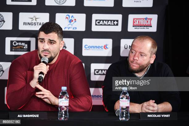 Ali BAGHOUZ and his coach Nicolas Vinet during press conference ahead the fight against Ali Baghouz on December 15 2017 in BoulogneBillancourt France
