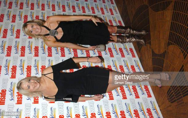 Ali Bastian and Sarah Dunn during 2004 Inside Soap Awards Press Room at La Rascasse Cafe Grand Prix in London Great Britain