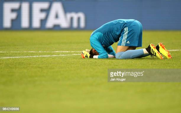 Ali Beiranvand goalkeeper of Iran reacts at the final whistle during the 2018 FIFA World Cup Russia group B match between Iran and Portugal at...