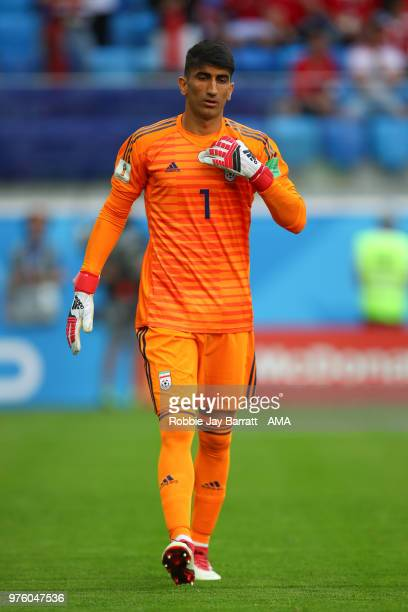Ali Beiranvand of IR Iran during the 2018 FIFA World Cup Russia group B match between Morocco and Iran at Saint Petersburg Stadium on June 15 2018 in...
