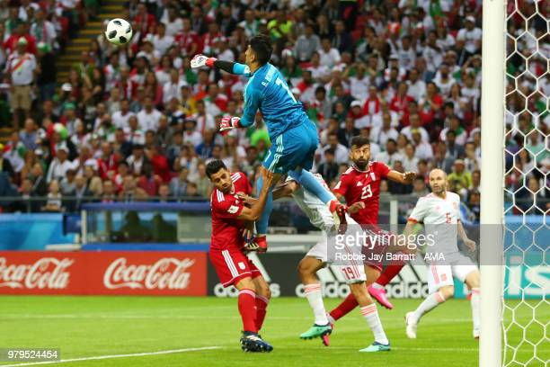 Ali Beiranvand of IR Iran punches clear during the 2018 FIFA World Cup Russia group B match between Iran and Spain at Kazan Arena on June 20 2018 in...