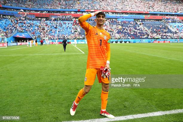 Ali Beiranvand of Iran celebrates following his side's win during the 2018 FIFA World Cup Russia group B match between Morocco and Iran at Saint...
