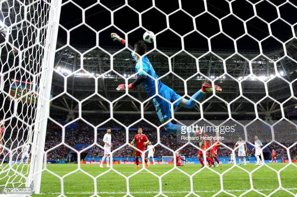 Ali Beiranvand of Iran flyes to make a save during the 2018 FIFA World Cup Russia group B match between Iran and Spain at Kazan Arena on June 20 2018...
