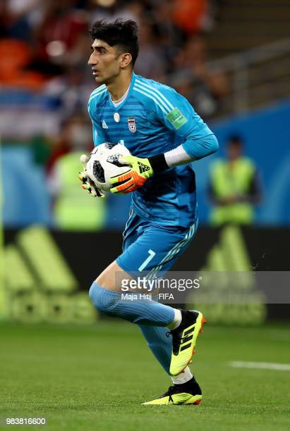 Ali Beiranvand of Iran in action during the 2018 FIFA World Cup Russia group B match between Iran and Portugal at Mordovia Arena on June 25 2018 in...