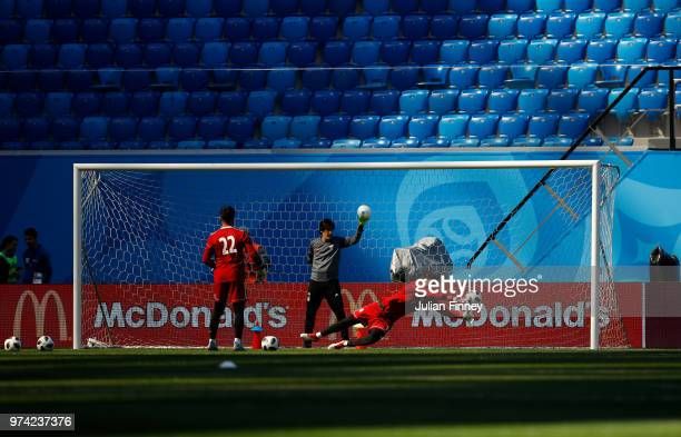 Ali Beiranvand of Iran makes a save at the St Petersburg stadium during previews ahead of the 2018 FIFA World Cup on June 14 2018 in St Petersburg...