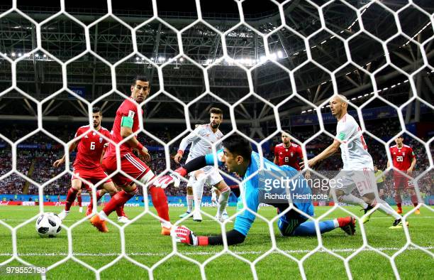 Ali Beiranvand of Iran makes a save during the 2018 FIFA World Cup Russia group B match between Iran and Spain at Kazan Arena on June 20 2018 in...