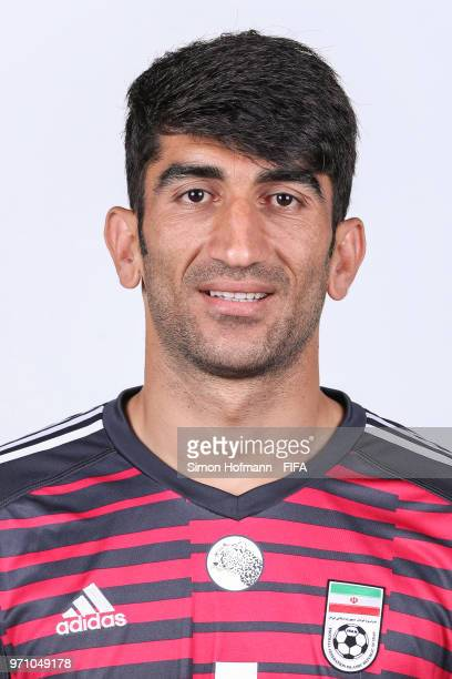 Ali Beiranvand of Iran poses during the official FIFA World Cup 2018 portrait session at Bakovka Training Base on June 9 2018 in Moscow Russia