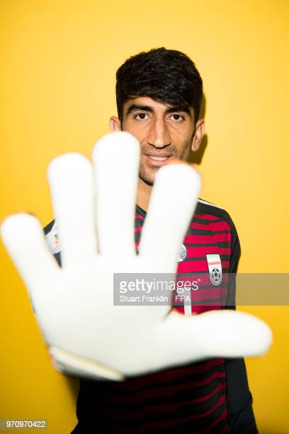 Ali Beiranvand of Iran poses for a picture during the official FIFA World Cup 2018 portrait session at on June 9 2018 in Moscow Russia