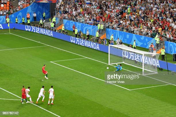 Ali Beiranvand of Iran saves the peanlty kicked by Cristiano Ronaldo of Portugal during the 2018 FIFA World Cup Russia group B match between Iran and...