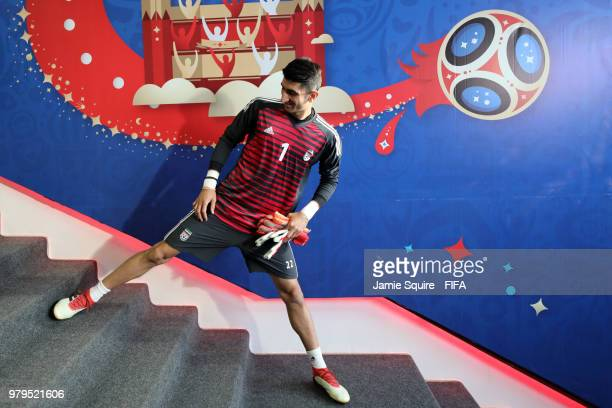 Ali Beiranvand of Iran warms up on the stairs in the tunnel prior to the 2018 FIFA World Cup Russia group B match between Iran and Spain at Kazan...