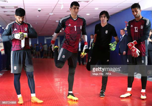 Ali Beiranvand Rashid Mazaheri and Amir Abedzadeh of Iran wait in the tunnel prior to the 2018 FIFA World Cup Russia group B match between Iran and...