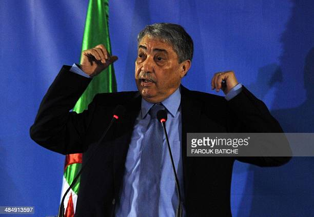 Ali Benflis a candidate in Algeria's upcoming presidential elections speaks during a press confernce in Algiers on April 15 2014 Final campaign...