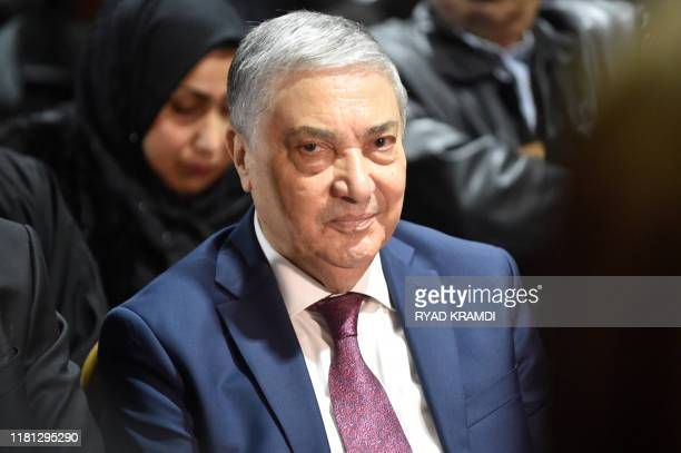 Ali Benflis arrives for a press conference in the capital Algiers on November 10, 2019. - Five candidates, including two former prime ministers under...